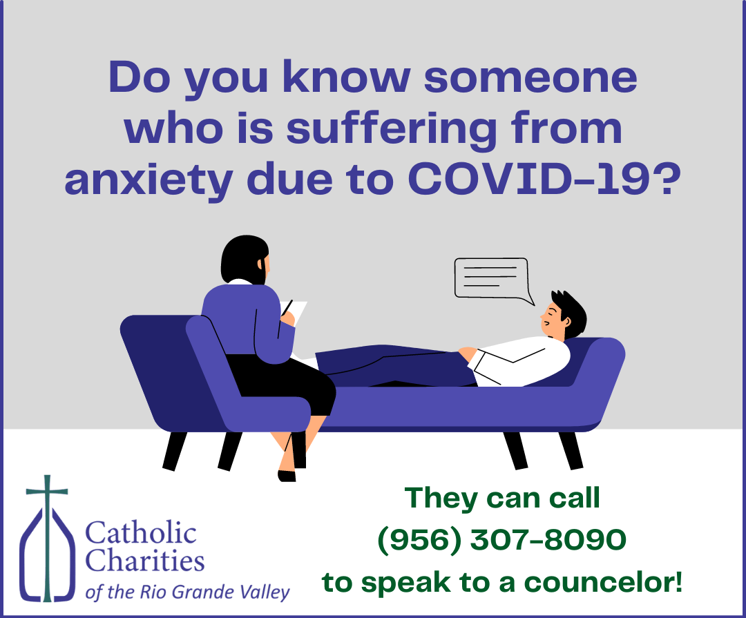 """<p><span style=""""font-size: 18px;""""><span style=""""line-height: 105%; font-family: arial, sans-serif; font-size: 18px;"""">Catholic Charities of the Rio Grande Valley is offering over the phone counseling to all those suffering from anxiety and depression due to the COVID-19 pandemic. <br /> <br /> If you know of someone who will benefit from this service please have them call 956-307-8090</span><span style=""""line-height: 105%; font-size: 18px;"""">.</span></span></p> <p><br /> </p>"""